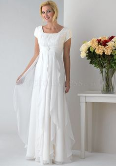 A-line square neck empire Cap Sleeves white Mother of the Bride Dress picture 1
