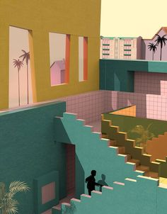 Illustrator Tishk Barzanji, Unbearable Lightness of Being. (Dream-like interpretation of Poala's AirBNB in TJ Beach)