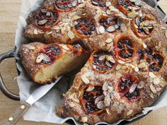 Tamarillo, Pear and Spice Cake. Recipe and photography by Claire Aldous. Purple Sweet Potatoes, Spice Cake, Vegan Snacks, Sweet Desserts, Dairy Free, Cake Decorating, Deserts, Spices, Food And Drink