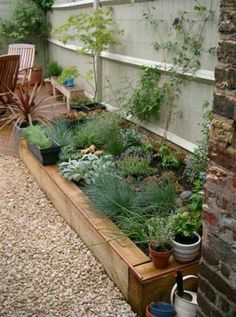 Railway sleeper raised bed for front garden