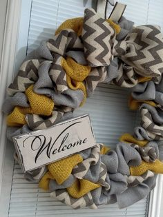 Burlap Wreath Yellow Gray and White/Gray by DallyUpBoutique