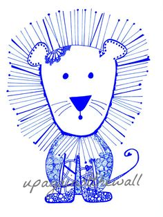 Nursery Lion. Order this doodled print of by UpAgainstTheWall
