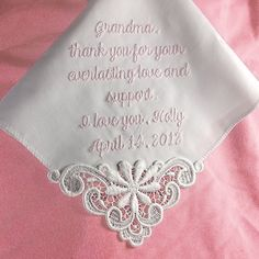 Gift for Mother of the Bride Custom Embroidered Personalized Hankerchief Cotton. $24.00, via Etsy. @Jessica Dean