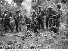 Portuguese troops with mortar gun in Angola - Colonial War 1961