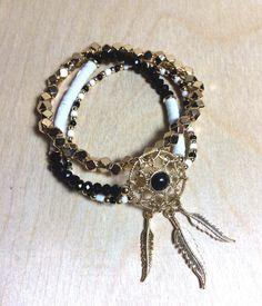 Delicate Dream Catcher Feather Bracelet/ Stretch Bracelet Set/ Gold Plated Stretch Bracelet Set/ Indie Bracelet ( FREE GIFT)