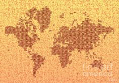 World Map Kotak In Yellow And Red by elevencorners. World map wall print decor. #elevencorners #mapkotak