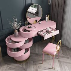 Room Design Bedroom, Girl Bedroom Designs, Room Ideas Bedroom, Home Room Design, Furniture Design For Bedroom, Mirrored Bedroom Furniture, Dressing Table Design, Kids Dressing Table, Beauty Room Decor