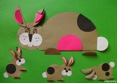 Prace plastyczne - Kolorowe kredki: Wielkanoc - zwierzątka origami płaskie z kół