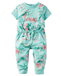 Baby Girl Floral French Terry Jumpsuit | Carters.com