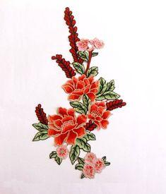 Delicados apliques florales rojo bordado parche parche Floral