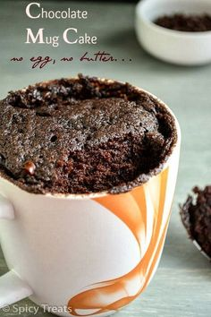 All you need is just 2 minutes to enjoy this chocolaty treat - no egg, no butter Instant Chocolate Cake in Mug!!