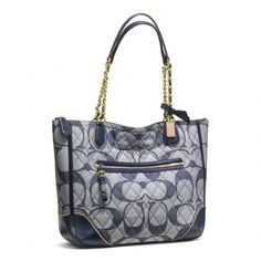 Coach :: Poppy Quilted Signature c Denim Small Chain Tote