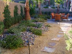 palm springs desert landscape images | Path to Patio with Rock landscaping