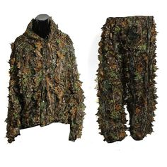 Leaf Ghillie Suit Woodland Camo Camouflage Clothing 3D Jungle Hunting Size