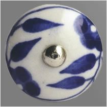 Handpainted blue and white porcelain cabinet knob.  Dimeter 30mm Price £6.00