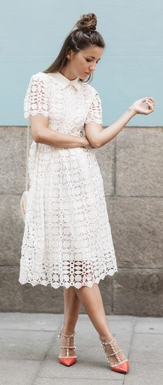 Splendid Crochet White Dress featured by lovely pepa Blog