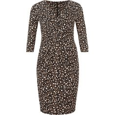 M&S Collection PLUS Animal Print Bodycon Dress ($105) ❤ liked on Polyvore featuring dresses, brown, black bodycon dress, bodycon cocktail dress, holiday cocktail dresses, party dresses and holiday party dresses