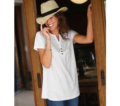 Tričko s tuniským výstřihem a anglickou výšivkou   blancheporte.cz #blancheporte #blancheporteCZ #blancheporte_cz #newcollection #jaro #leto #summer #spring Short, Panama Hat, White Dress, Spring, Dresses, Jar, Products, Fashion, Broderie Anglaise