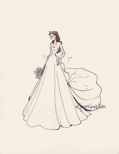 The Duchess Kate Middleton- bridal fashion painting