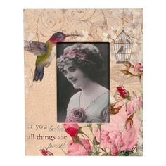 Vintage Primavera Hummingbird Photo Frame