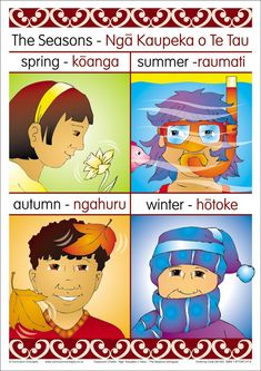 The Seasons Chart showing appropriate graphics for each season for quick visual reference. Labels in Maori only Classroom Charts, Classroom Displays, Classroom Themes, Kindergarten Science, Preschool Activities, Seasons Chart, Waitangi Day, Maori Words, Play Based Learning