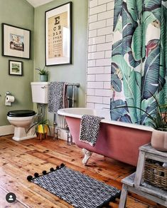 10 Ways to Makeover Your Bathroom on a Budget, including adding plants, replacing flooring, painting your bath and wallpapering - Melanie Jade Design Interior Exterior, Bathroom Interior Design, Interior Decorating, Boho Bathroom, Budget Bathroom, Bathroom Ideas, Small Bathroom, Wooden Bathroom Floor, Bathroom Green