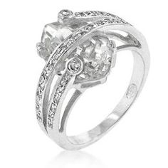 Trapped Cubic Zirconia Cocktail Ring