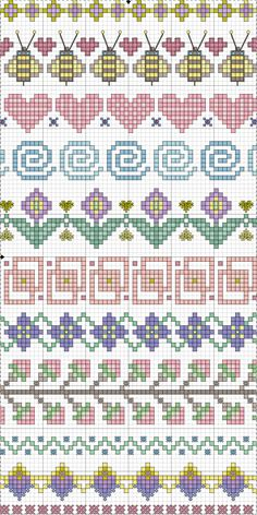 Valentine Freebie ~ Blue Eyed Bees Send Messages of Love Cross-stitch Borders. no color chart available, just use pattern chart as your color guide. or choose your own colors. Point de croix *m Cross stitch borders Cross Stitch Borders, Cross Stitch Samplers, Cross Stitch Charts, Cross Stitch Designs, Cross Stitching, Cross Stitch Embroidery, Embroidery Patterns, Cross Stitch Patterns, Crochet Borders