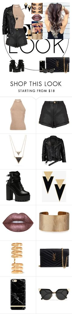 """Power Look"" by chansoo ❤ liked on Polyvore featuring Rosetta Getty, Topshop, House of Harlow 1960, VIPARO, Yves Saint Laurent, Lime Crime, Panacea, Repossi, Richmond & Finch and Fendi"