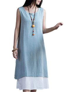Sale 27% (25.68$) - Women Mori Girl Loose Sleeveless Solid Cotton Linen Sundress