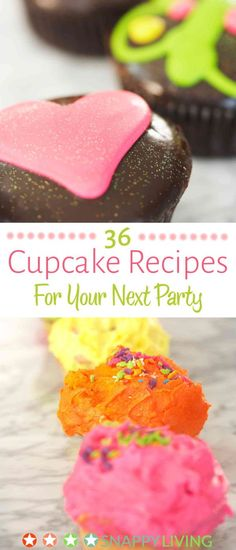 36 delicious and decorative cupcake recipes, from fun candy flavors to more sophisticated tastes. These are great recipes you can make quickly for unplanned get-togethers, or just for family snacking.