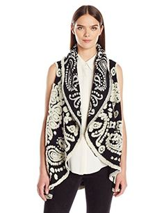 Women's Sweater Vests - Nanette Nanette Lepore Womens Boiled Wool Paisley Flyaway Sweater Vest *** For more information, visit image link. (This is an Amazon affiliate link)