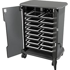 Tablet charging cart economy mobile laptop storage and workstation multiple notebook station with cabinet usb Electronics Projects, Electronics Storage, School Furniture, Art Furniture, Laptop Storage, Storage Cart, Wall Outlets, Storage Cabinets, Shoe Rack