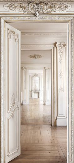 Ornate doorways #antique #molding #whiteonwhite