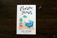 2018 Plants are Friends Wall Calendar. The perfect calendar for crazy plant ladies & green thumb wannabes! Unique holiday gift for coworkers & clients! #calendars #2018calendar #plantsarefriends #plants #houseplants #interiors #watercolor #midcenturymodern #crazyplantlady #plantlovers #stationerylove #plannerlove #christmasgifts #secretsanta #giftideas #NewYear #illustration