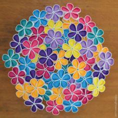 'Geisha Girl' Duranta – in rainbow Folding Flowers - threaded Kanzashi tutorials Kanzashi Tutorial, Flower Tutorial, Kanzashi Flowers, Flower Petals, Duranta, Summer Flowers, Fabric Flowers, Tutorials, Rainbow