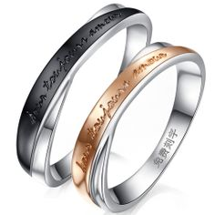 18k Rose/black Gold Over 925 Sterling Silver Couple Rings $60