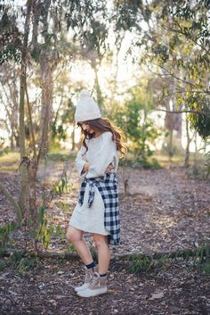 Casual Fall Outfits with Sperry including dress and beanie outfit with duck boots by M Loves M