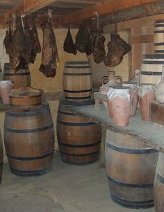 Smoked meat and barrels of supplies at Jamestown Settlement in Jamestown, Virginia
