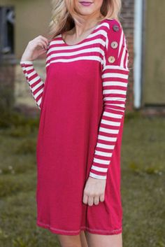 dress red fashion stripes style fall outfits cute casual trendy rosegal dec