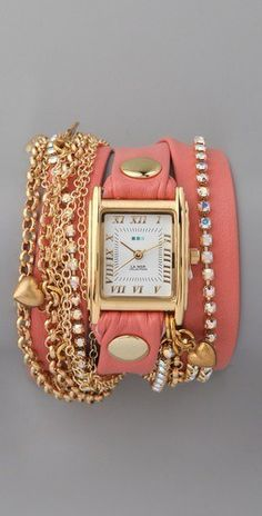 watch and diamonds and peachy coral