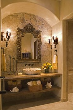 gothic home decoration Home interior Bedroom # bedroom # decoration # gothic … Tuscan Bathroom Decor, Rustic Bathrooms, Dream Bathrooms, Bathroom Interior Design, Beautiful Bathrooms, Dream Home Design, House Design, Spanish Style Homes, Spanish Style Bathrooms