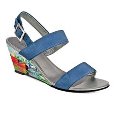 """Crystal-471 Covered Wedge Sandal in """"Red Boats"""" by Claude Monet"""