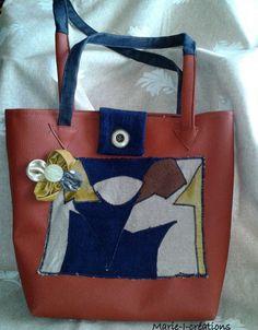 Sac bandoulière couleur fauve, customisé avec un motif abstrait. Par marie-j-creations : Sacs bandoulière par marie-j-creations