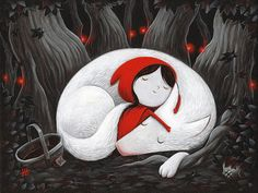 x what big dreams you have. Little Red Riding Hood. By justin hillgrove Little Red Hood, Little Red Ridding Hood, Wolf Illustration, Sleeping Wolf, Red Riding Hood Wolf, Art Sur Toile, Art Manga, Oeuvre D'art, Painted Rocks
