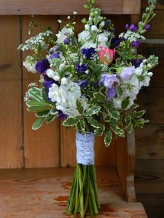 Bouquet with sweet peas and stocks
