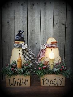 Primitive Country Crafts to Make | This picture shows two ways you can make this patterns..just add a hat ...