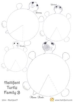 Hattifant`s hungry Turtle Family - Hattifant Craft Activities For Kids, Preschool Crafts, Diy Crafts For Kids, Fun Crafts, Arts And Crafts, Paper Crafts, Turtle Crafts, Printable Crafts, Art Education