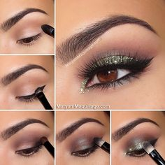 "Happy Weekend beauties!! Here's the tutorial of my ""Glam Green Glitter"" holiday makeup look using @motivescosmetics (use my code MaryamNYC when shopping!!) Holiday Glitter Smokey Eye How To: 1.) Apply #motives eye base all over the lid. Using a pointed crease brush, apply Cappuccino eyeshadow to the crease and blend well.  2.) With an angled liner brush, line the top lash line using @motivescosmetics Little Black dress gel liner, extend and thicken the outer wing. Blend the thickened wing…"