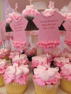 Pink Baby Shower Party cupcakes!  See more party ideas at CatchMyParty.com!